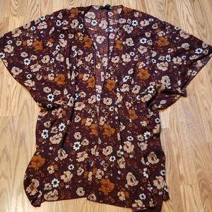 Pretty Fall Flowy Kimono Jacket, cardigan